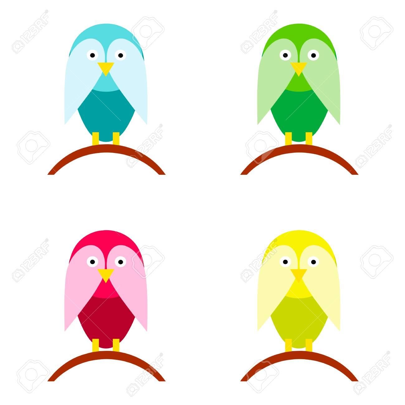 Vecteur De Dessin Animé D'oiseaux En Plusieurs Couleurs tout Dessin D Oiseau Simple