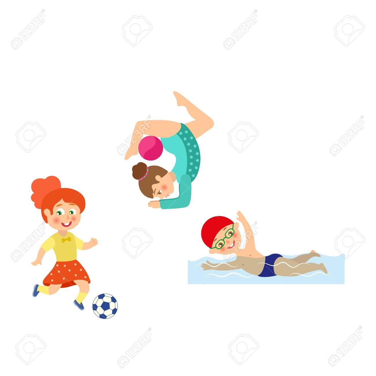 Vecteur De Dessin Animé Plat Enfants Faisant Des Jeux De Sport. Fille  Jouant Au Football, Un Autre Faisant L'exercice De Gymnastique D'étirement  Avec encequiconcerne Jeux Enfant Dessin
