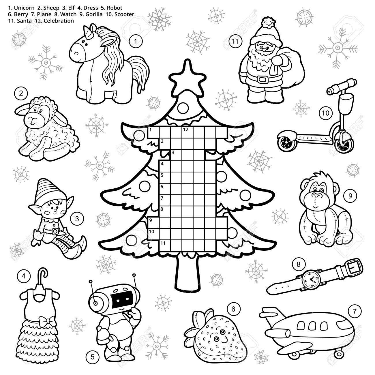 Vecteur De Mots Croisés, Jeu Éducatif Pour Les Enfants Sur Les Cadeaux De  Noël Et Des Cadeaux destiné Mots Croisés Noel
