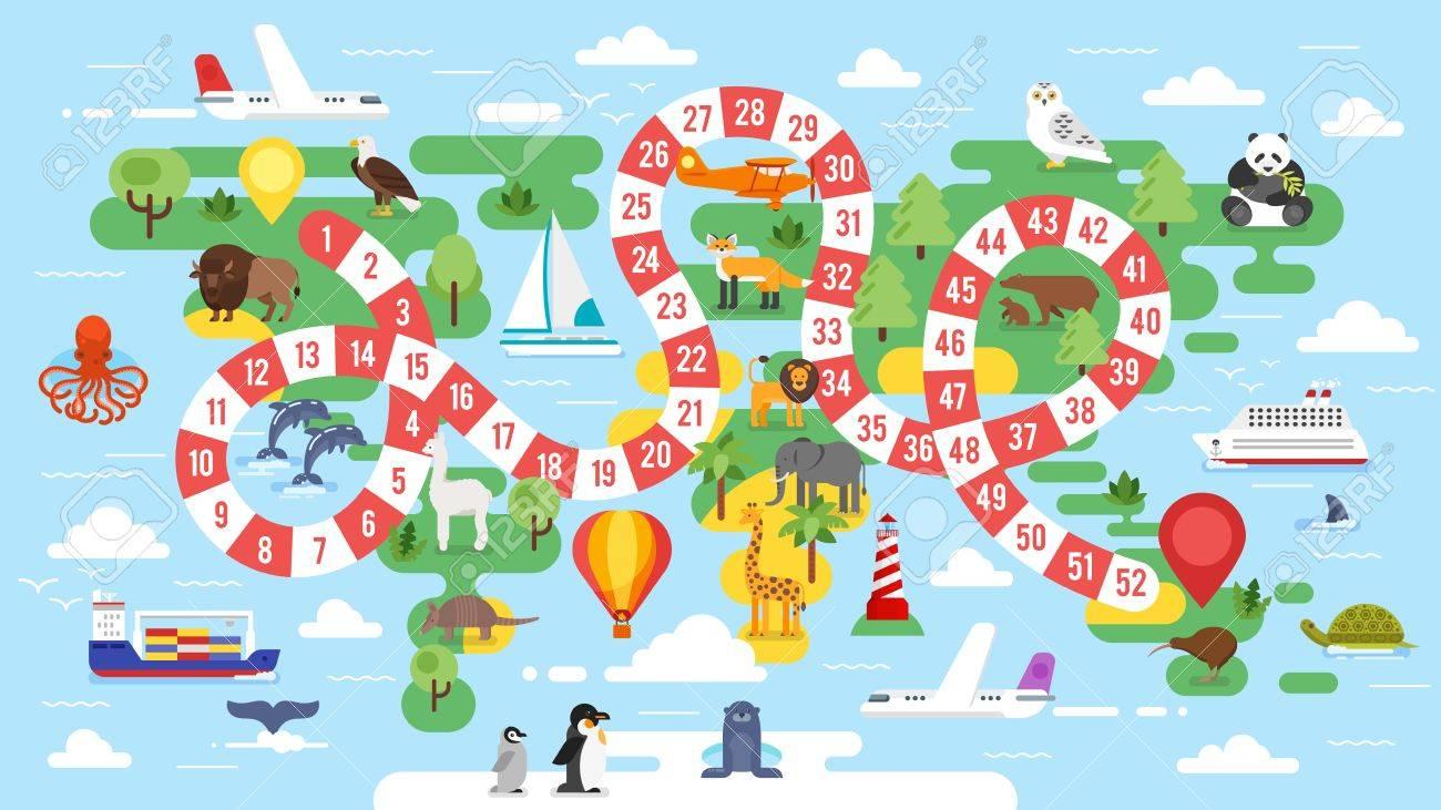 Vecteur De Style Plat Illustration D'enfants Monde Modèle Tournée Plateau  De Jeu. Pour Imprimer. pour Jeux De Société À Imprimer