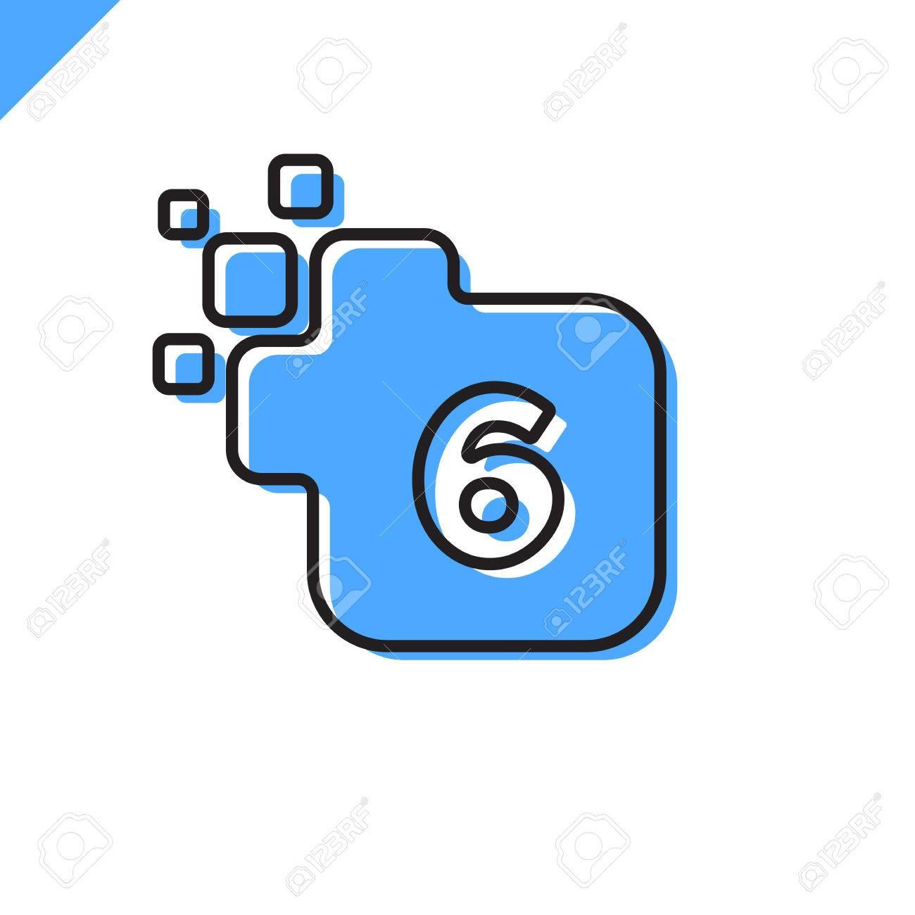 Vecteur D'entreprise Entreprise Place Numéro 6 Polices Vector Logo. Modèle  D'alphabet Numérique Numérique Coloré Pour La Technologie. Logotype Pixel destiné Modèle D Alphabet