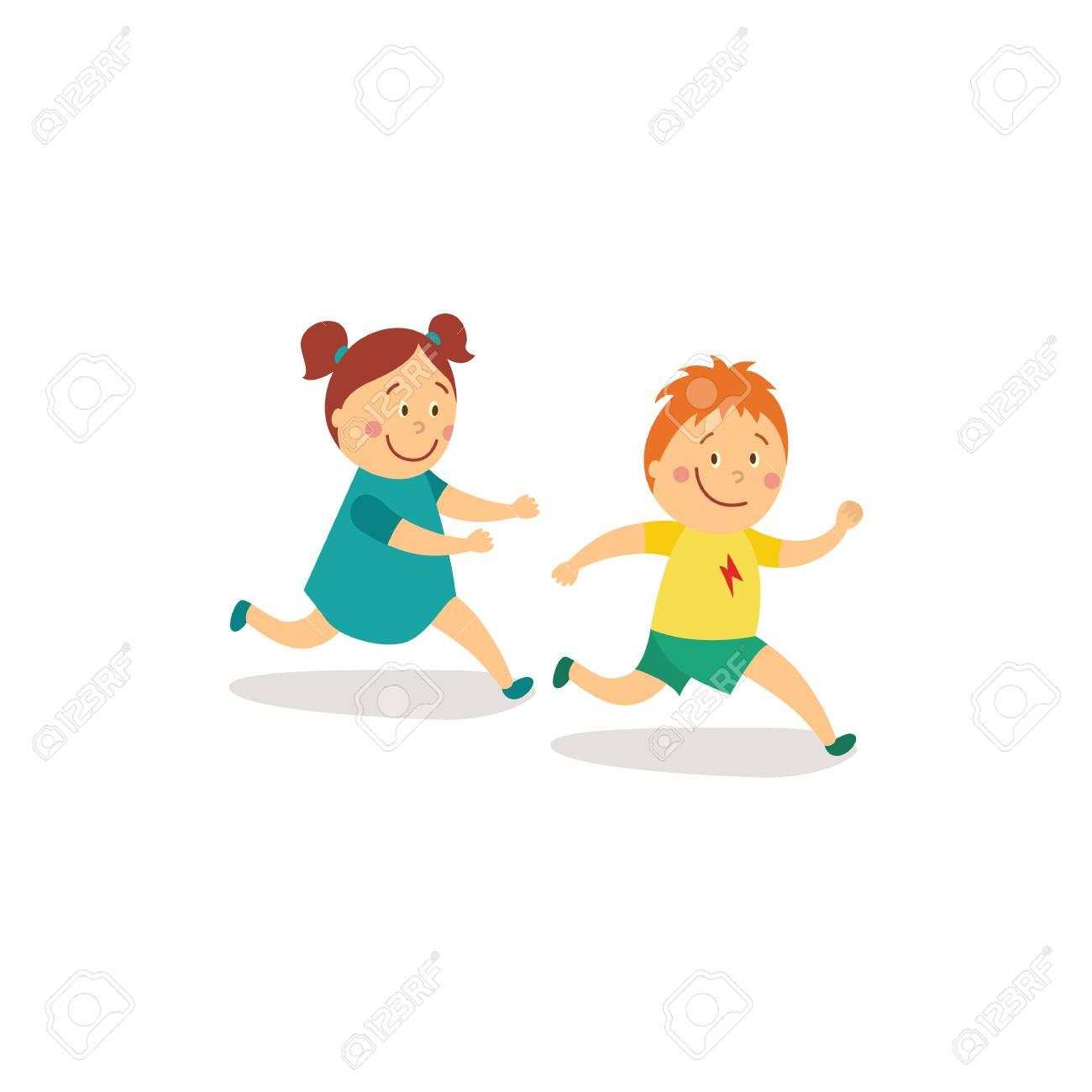 Vecteur Plat Dessin Animé Fille Et Garçon Enfants S'amusant En Rattrapage  Et Tag Jeu De Course Souriant Activité Des Enfants Dans Un Concept De Cour. dedans Jeux Course Enfant