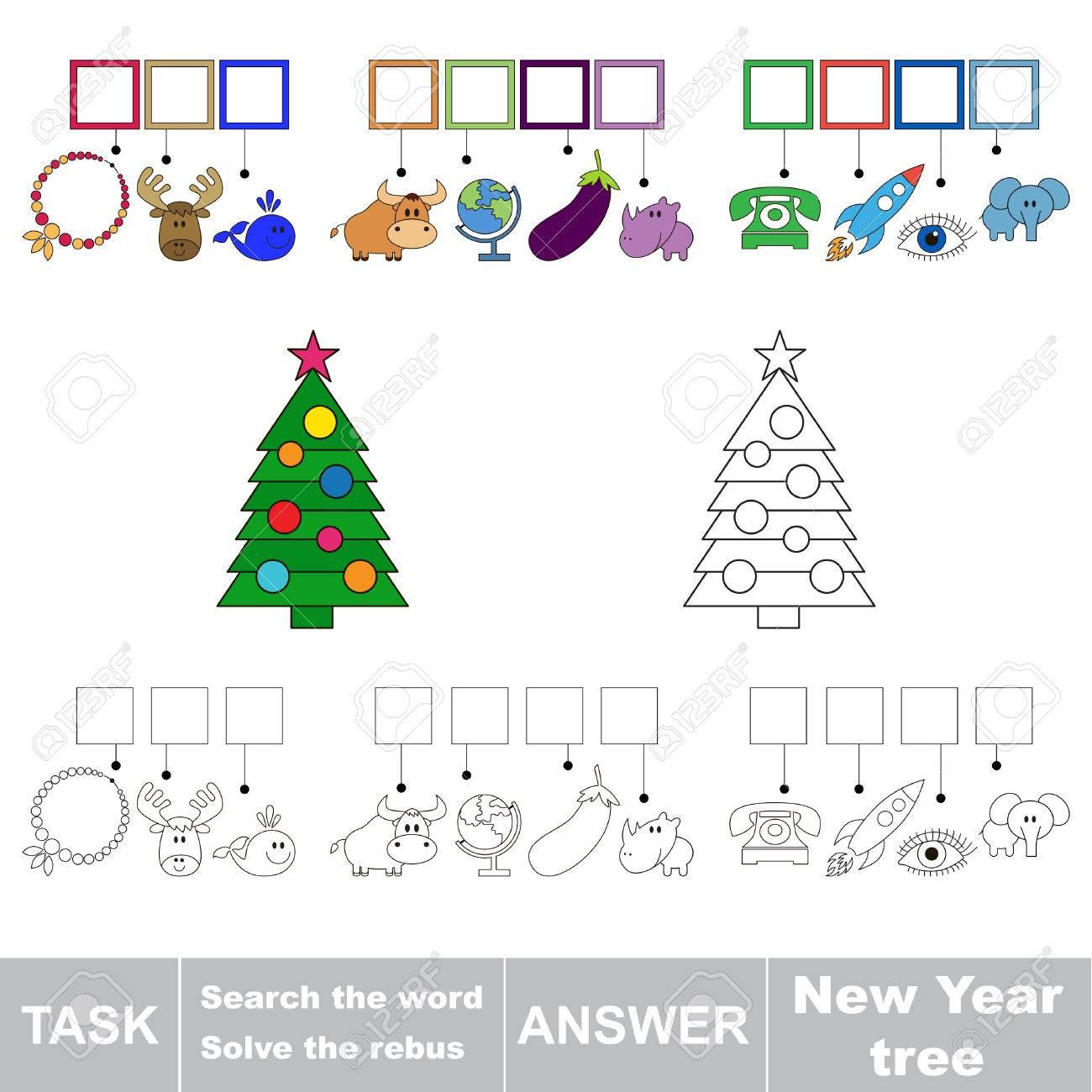 Vecteur Rebus Jeu. Tâche Et La Réponse. Résoudre Le Rébus Et De Trouver Le  Mot Nouvel Arbre De L'année pour Rebus Noel
