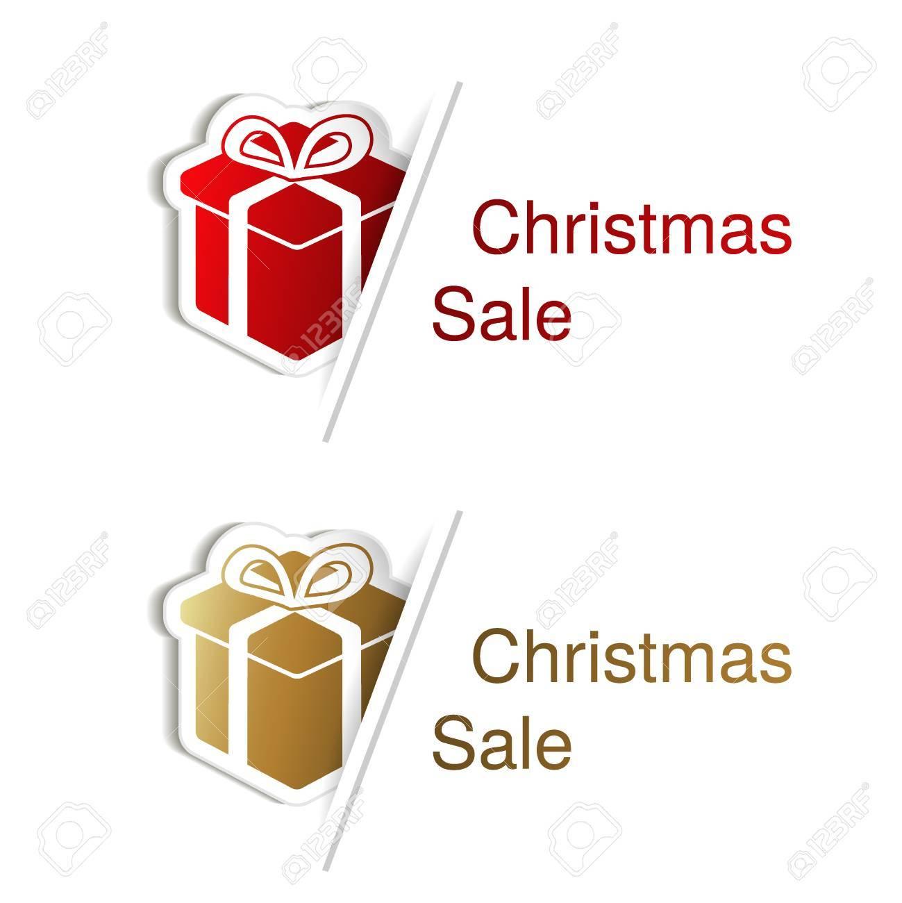 Vecteur Rouge Et Or Cadeau De Noël Avec L'étiquette Pour Le Texte De La  Publicité Sur Le Fond Blanc, Des Autocollants Avec L'ombre - Illustration destiné Etiquette Pour Cadeau De Noel