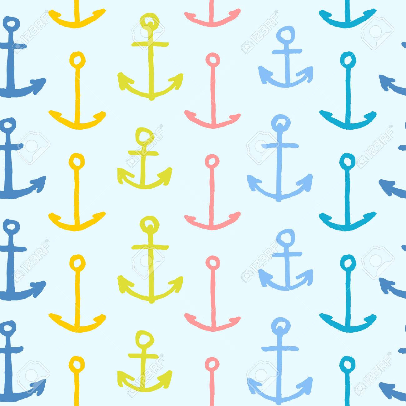 Vecteur, Seamless, Modèle, Gratuit, Main, Dessiné, Dessin Animé, Ancres,  Bleu, Fond avec Modele De Dessin Gratuit