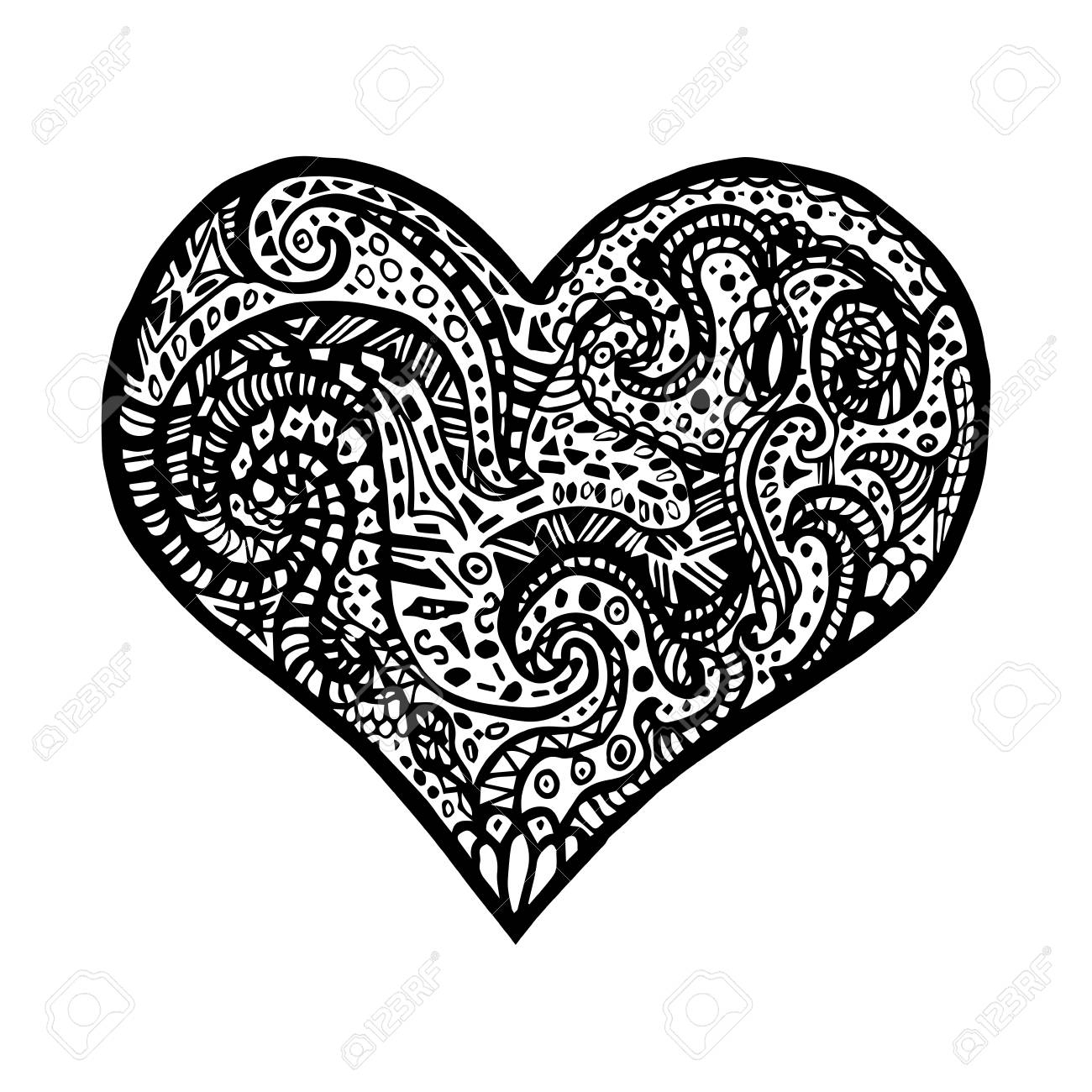 Vector Illustration De Coeur De Dessin À La Main. Carte Pour La Saint  Valentin. Symbole De L'amour. Vector Heart Style Zentangle. intérieur Dessin Pour La Saint Valentin