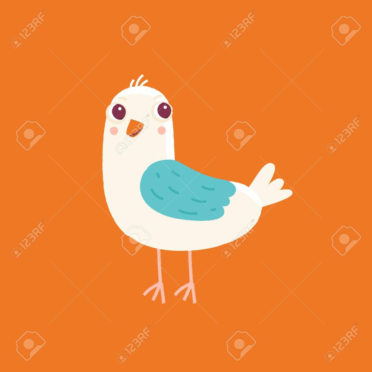 Vector Illustration De Dessin Animé Dans Un Style Enfantin Simple Avec Un  Modèle D'impression D'oiseaux - Pépinière, Élément De Conception Pour Une tout Dessin D Oiseau Simple