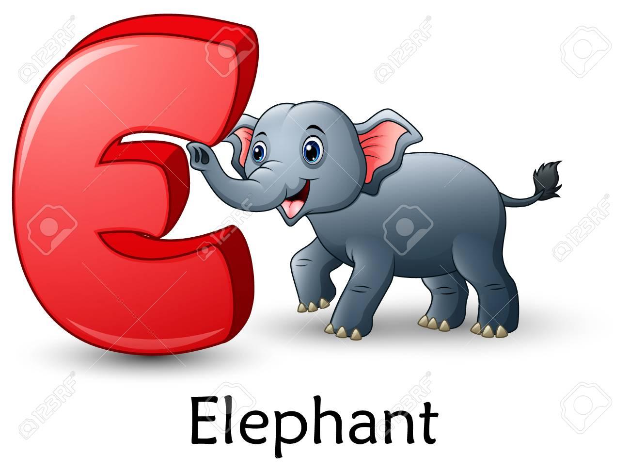Vector Illustration De La Lettre E Est Pour L & # 39 ; Alphabet De Dessin  Animé De L & tout Dessin Lettre E
