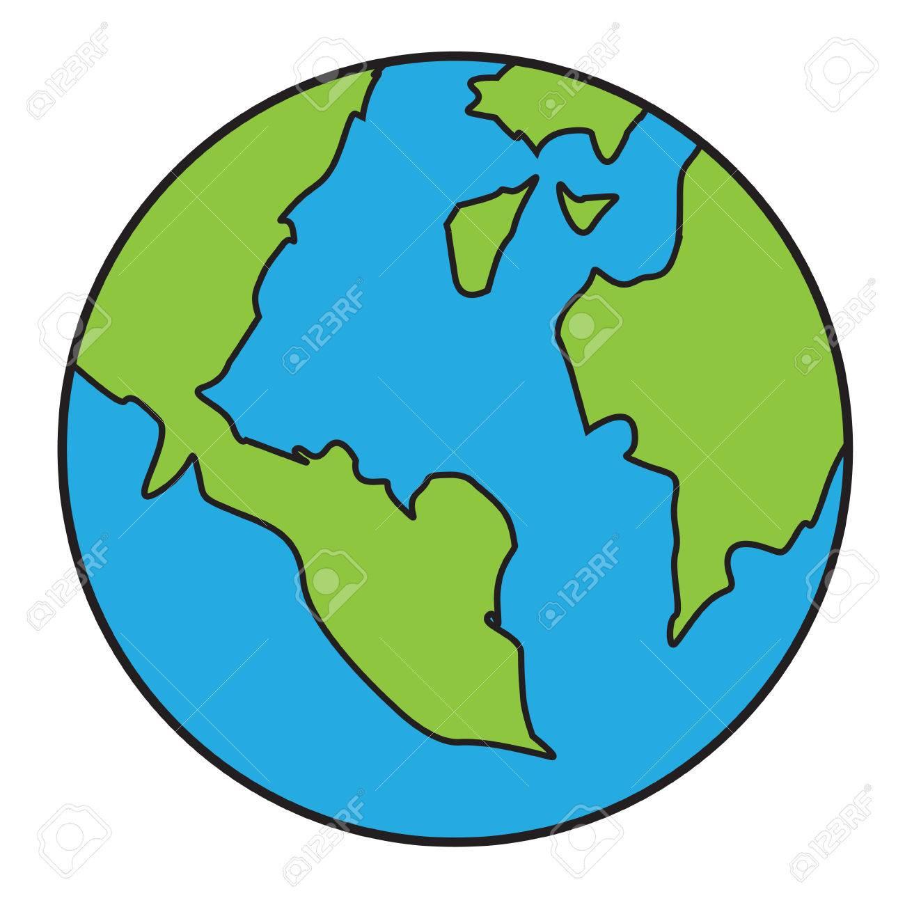 Vector Illustration De La Planète Terre Isolé Sur Blanc Dans Un Style De  Bande Dessinée encequiconcerne Image De La Terre Dessin