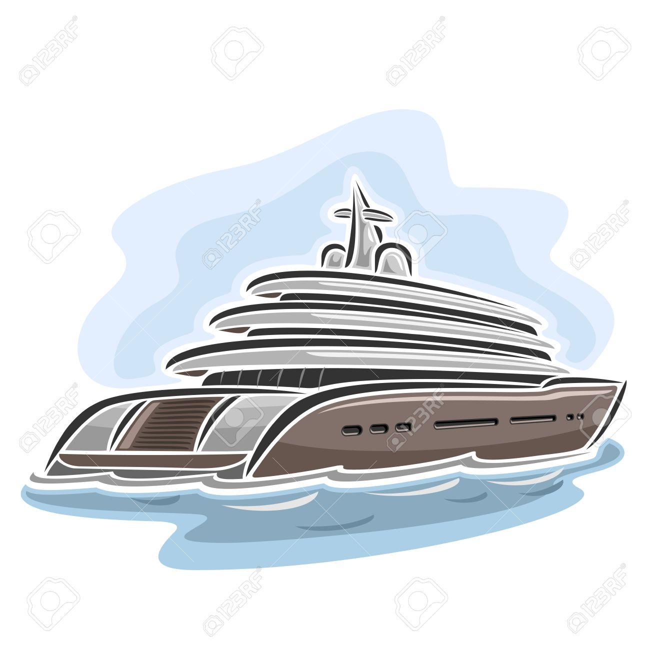 Vector Illustration D'un Grand Mega Yacht, Composé De Croisière Dessin  Animé Paquebot De Luxe Bateau, Flottant Sur Les Vagues De La Mer Océan Gros à Paquebot Dessin