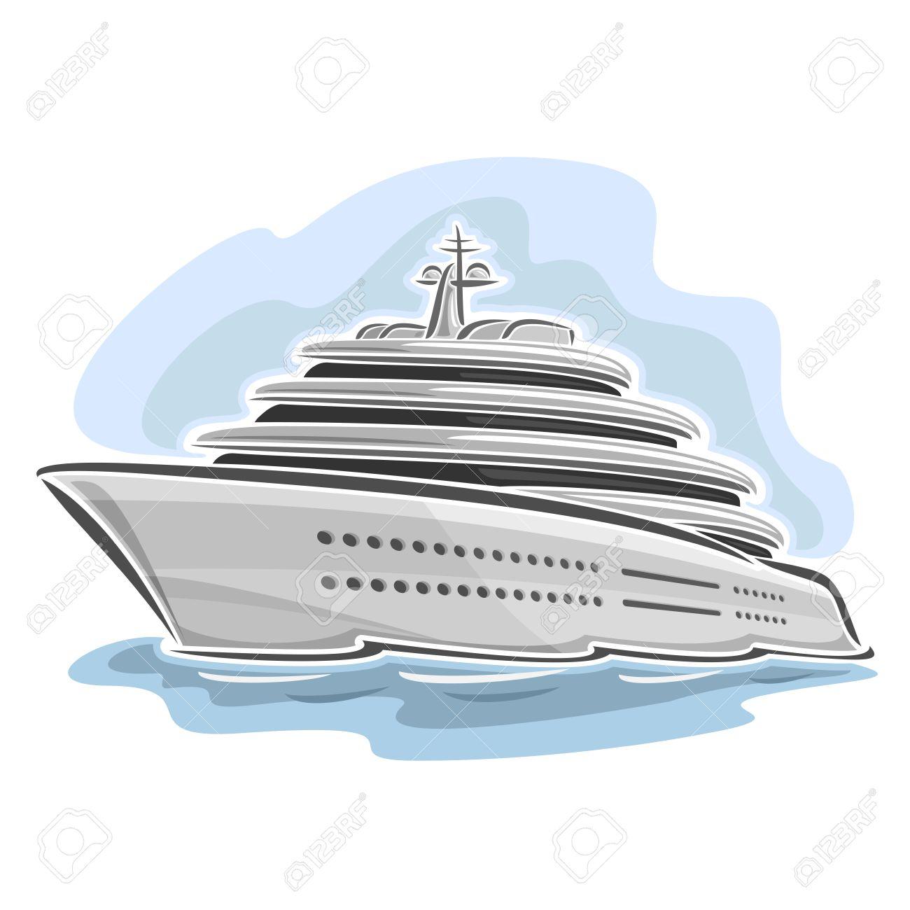 Vector Illustration D'un Grand Mega Yacht, Composé De Croisière Dessin  Animé Paquebot De Luxe Bateau, Flottant Sur Les Vagues De La Mer Océan Gros encequiconcerne Paquebot Dessin