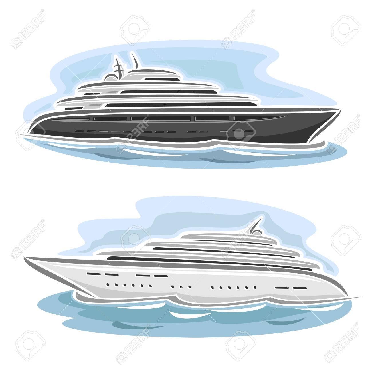 Vector Illustration D'un Grand Mega Yacht, Composé De Croisière Dessin  Animé Paquebot De Luxe Bateau, Flottant Sur Les Vagues De La Mer Océan Gros pour Paquebot Dessin