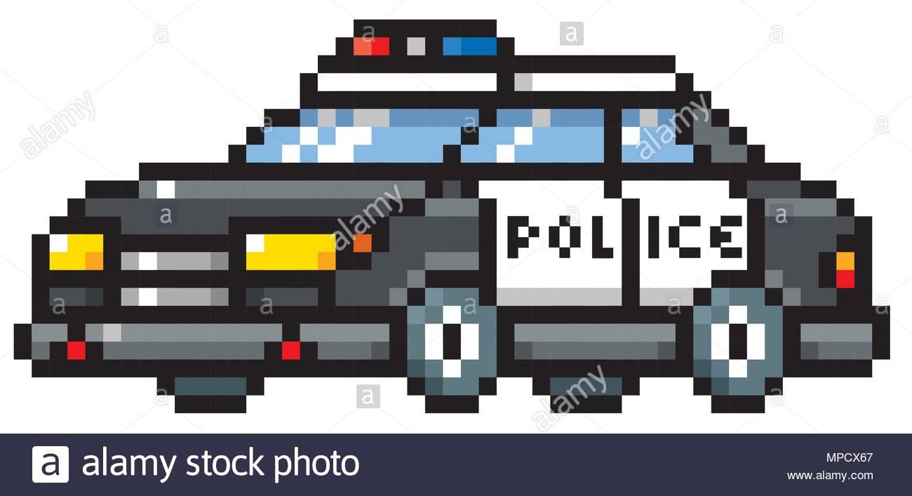 Vector Illustration Of Cartoon Police Car - Pixel Design dedans Voiture Pixel Art
