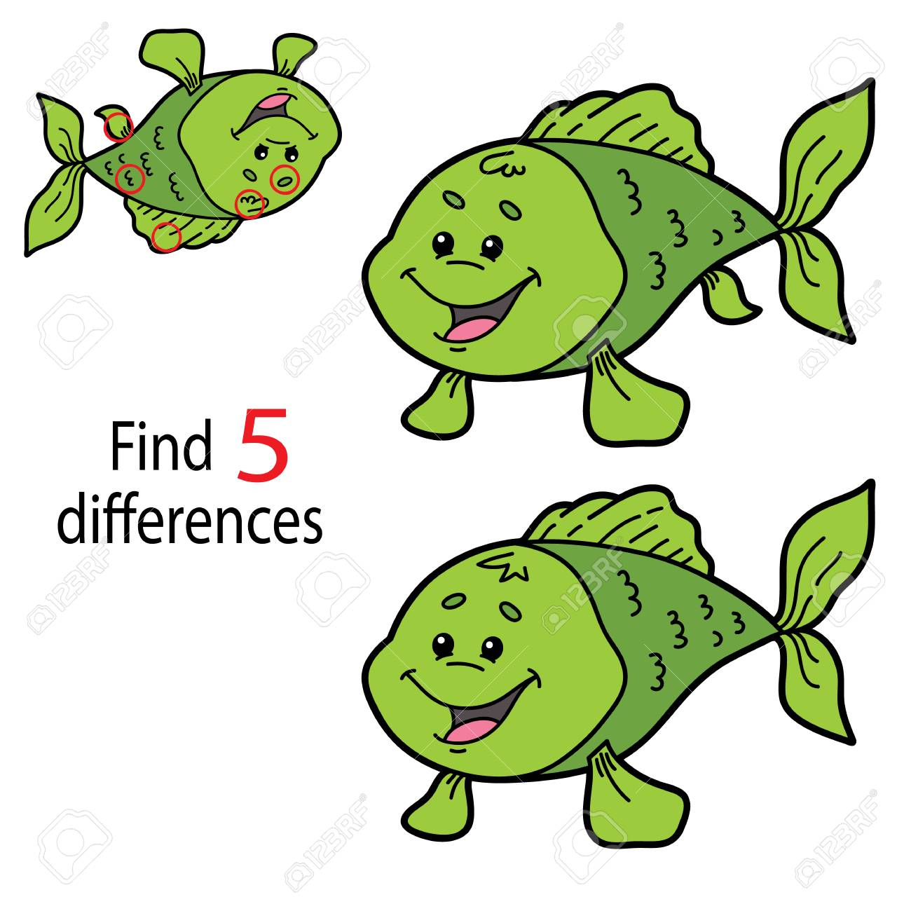 Vector Illustration Of Kids Puzzle Educational Game Find 5 Differences For  Preschool Children pour Les 5 Differences