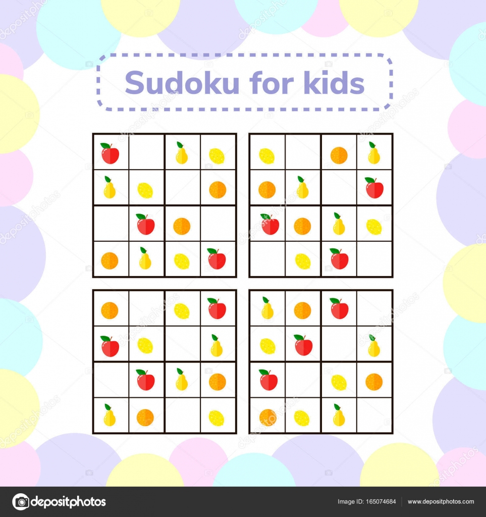 Vector Illustration. Sudoku Game For Children With Pictures dedans Jeu Le Sudoku