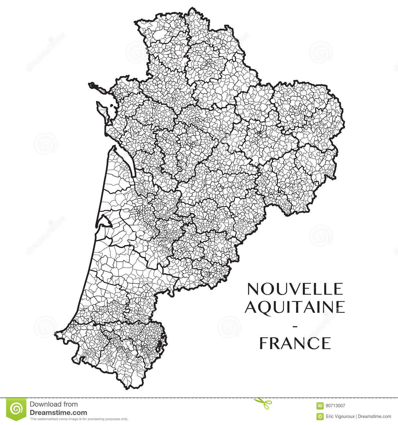 Vector Map Of The Region Nouvelle-Aquitaine, France Stock concernant Nouvelle Carte Region