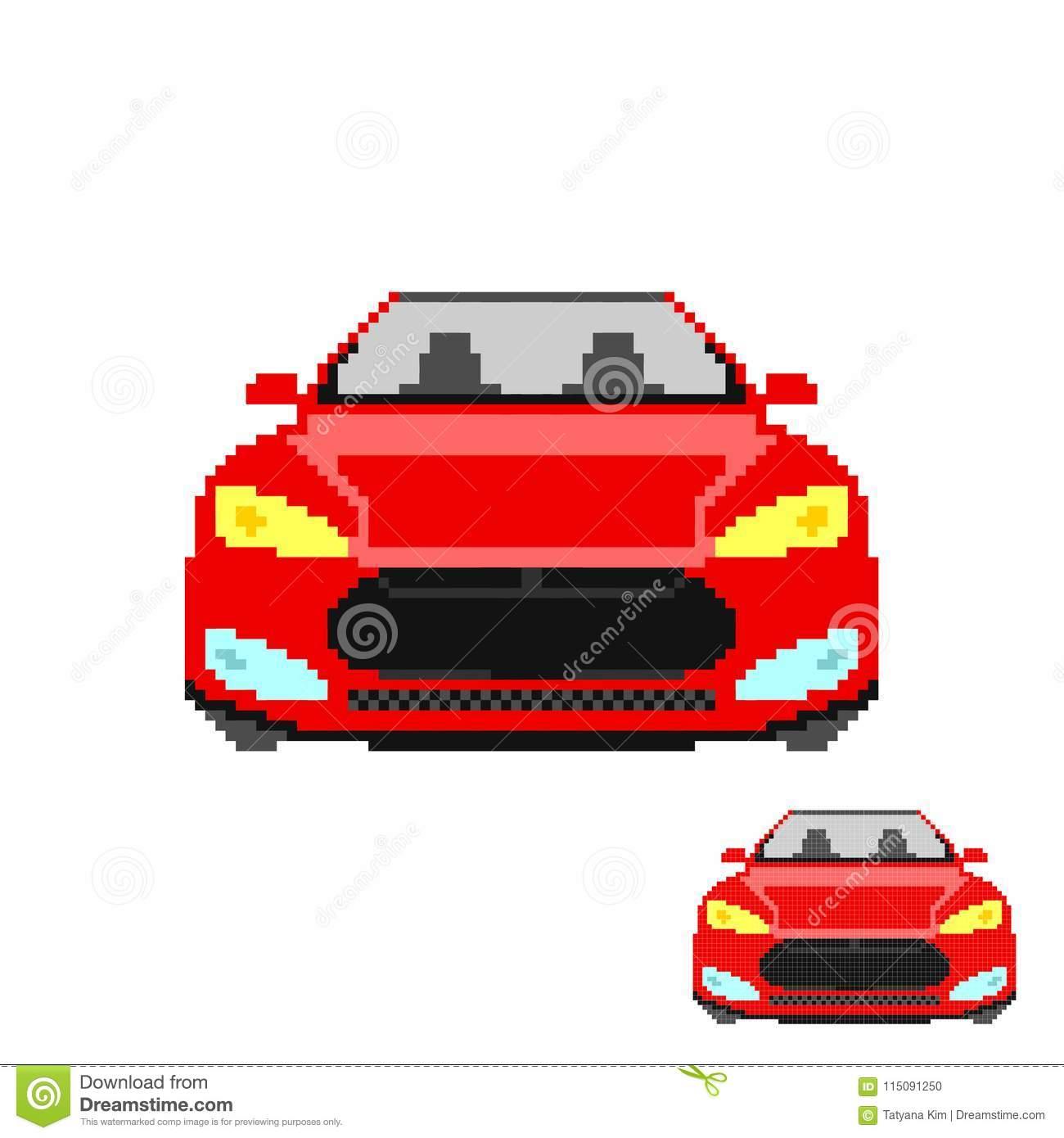 Vector Pixel Art Car Front Isolated Stock Vector à Voiture Pixel Art