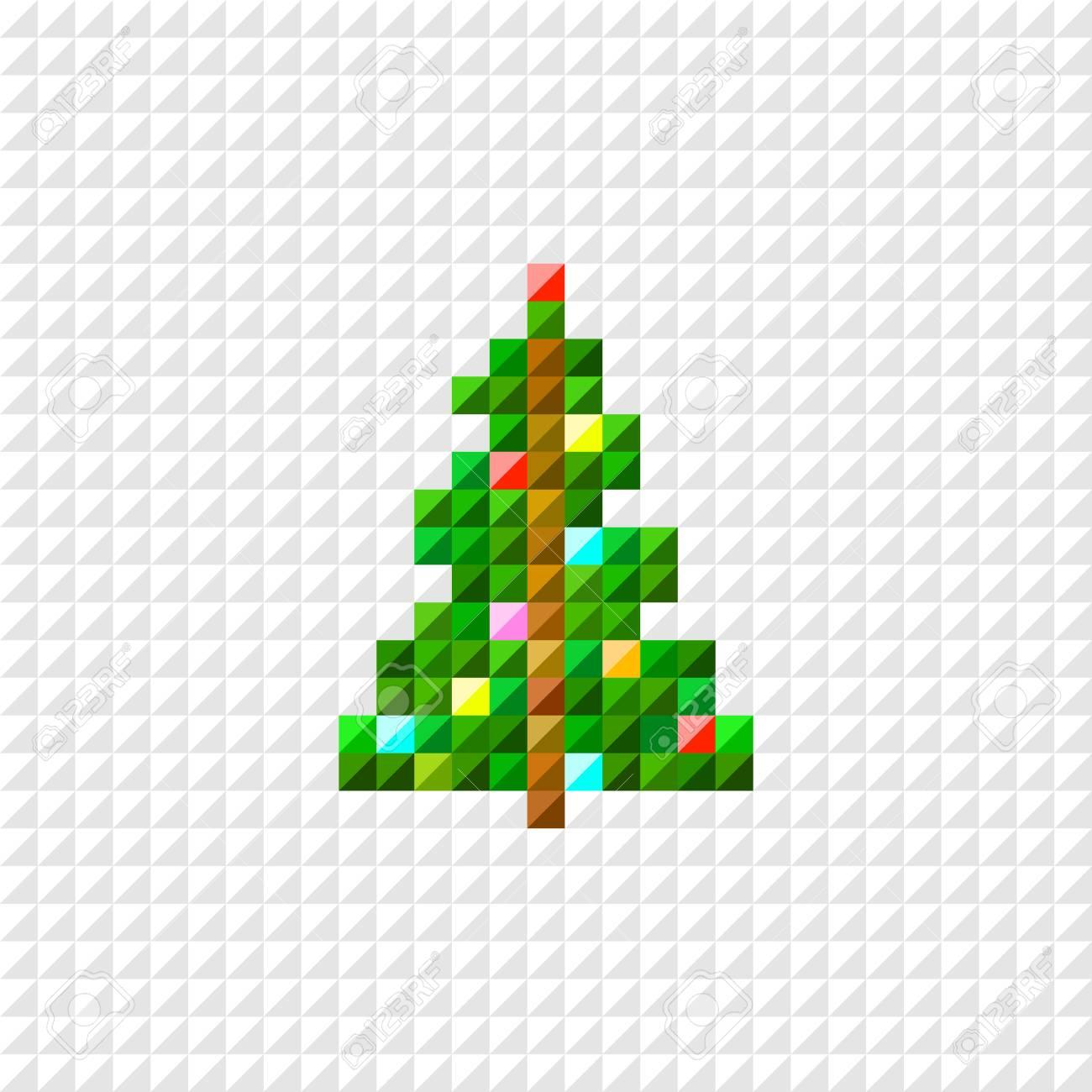 Vector Pixel Art Christmas Tree. Flat Design dedans Pixel Art De Noël