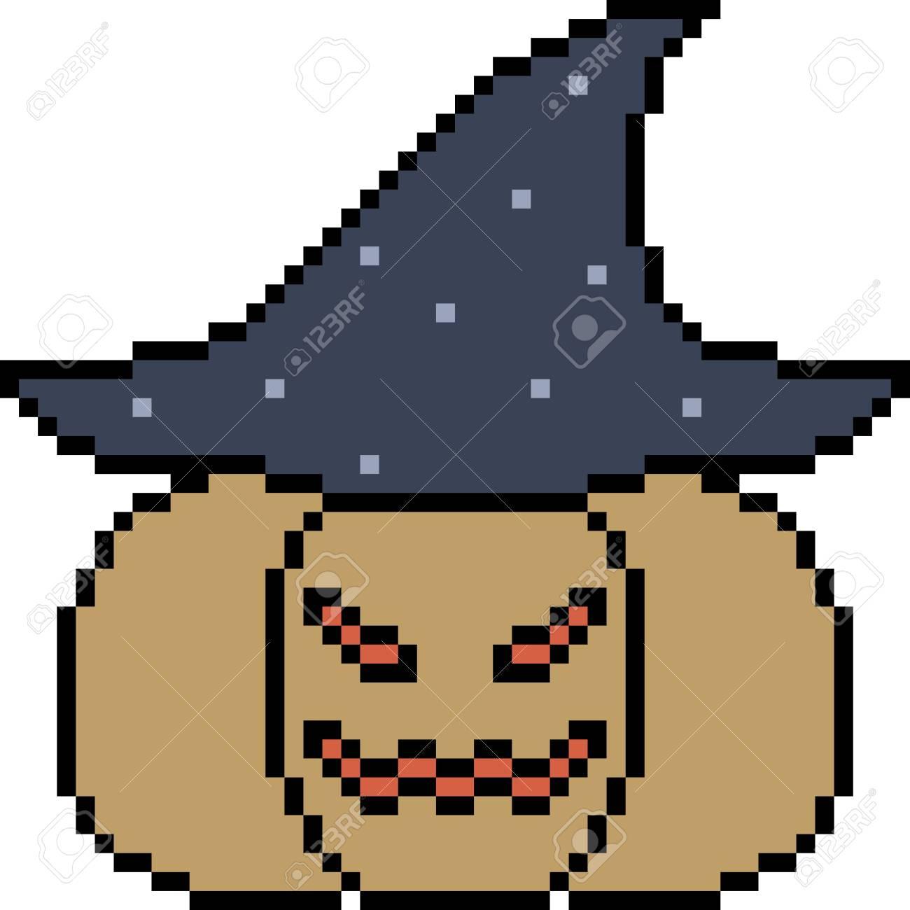 Vector Pixel Art Pumpkin Halloween Isolated concernant Modele Dessin Pixel