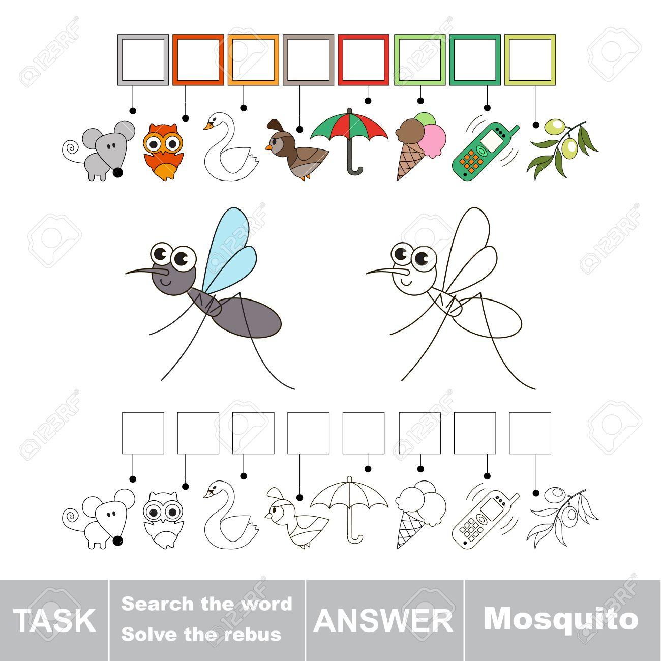 Vector Rebus Jeu Pour Les Enfants. Éducatif Facile Jeu D'enfant. Niveau De  Jeu Simple. Trouver La Solution Et Écrire Le Mot Caché Mosquito à Rebus Enfant