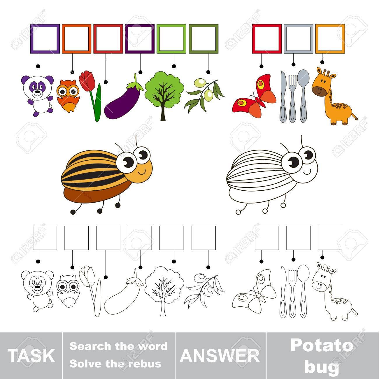 Vector Rebus Jeu Pour Les Enfants. Éducatif Facile Jeu D'enfant. Niveau De  Jeu Simple. Trouver La Solution Et Écrire Le Mot Caché Po Bug pour Jeux De Rebus
