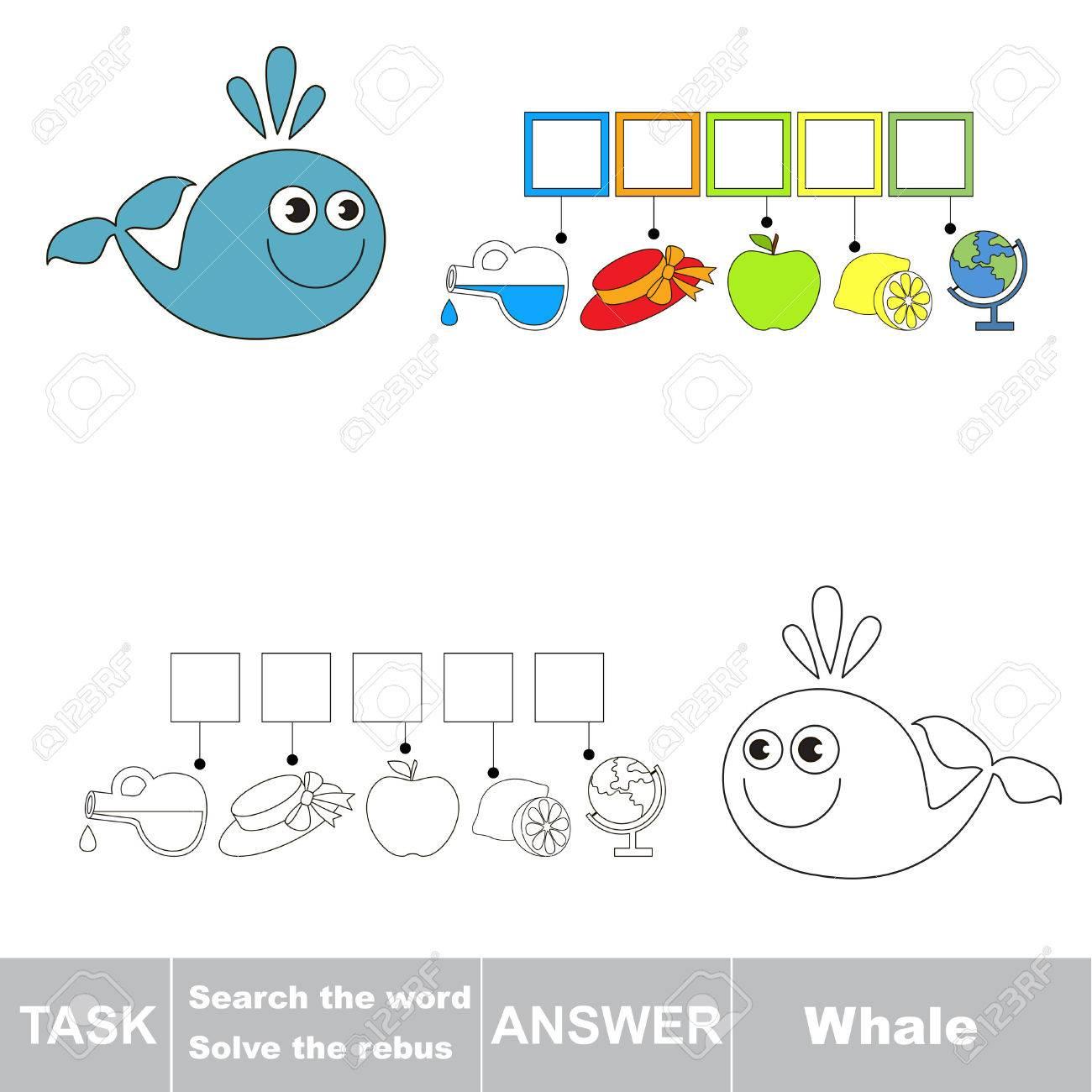 Vector Rebus Jeu. Résoudre Le Rebus Et Trouver Le Mot Whale. Tâche Et  Réponse. pour Rébus À Imprimer
