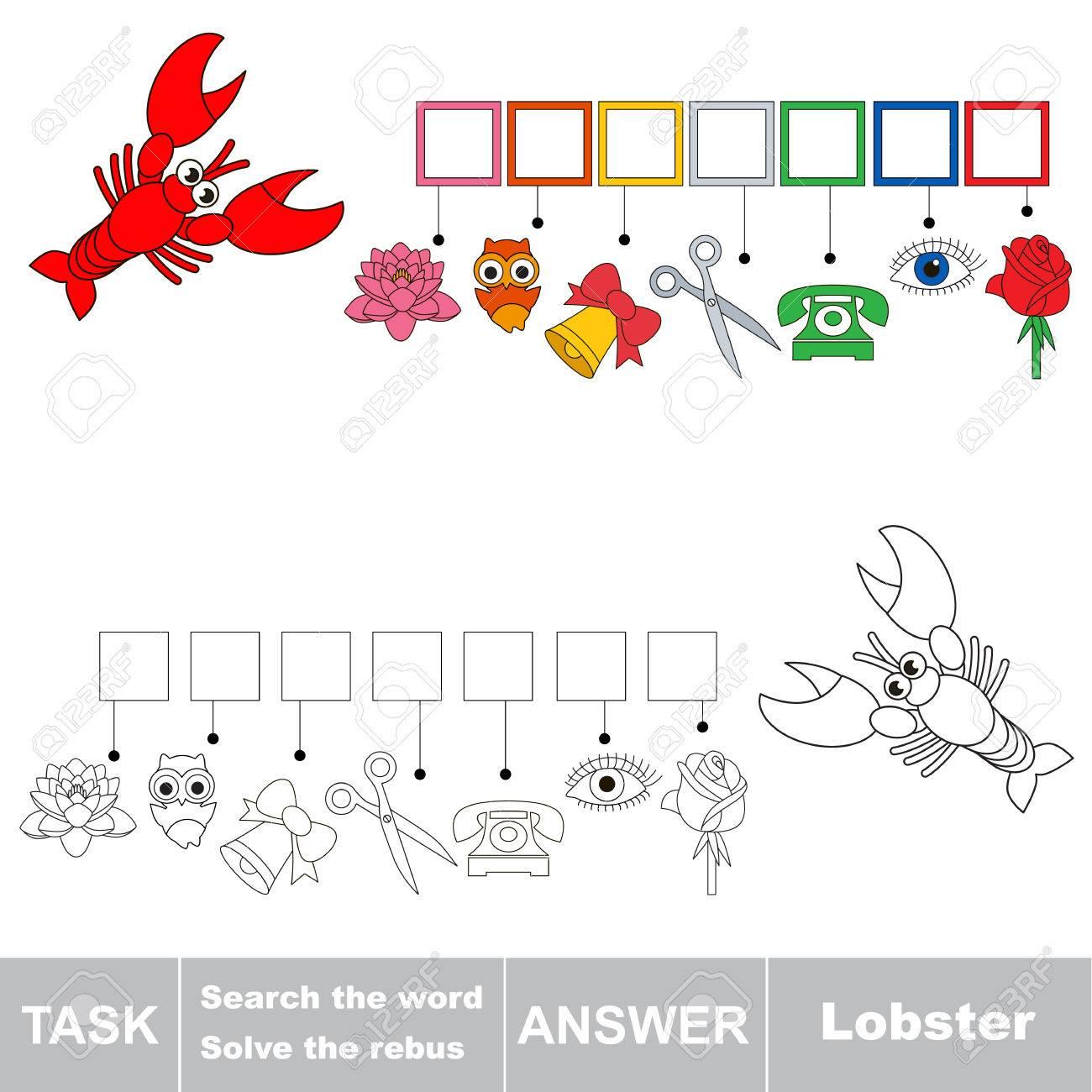 Vector Rebus Jeu. Tâche Et Réponse. Résoudre Le Rebus Et Trouver Le Mot  Lobster concernant Rébus À Imprimer