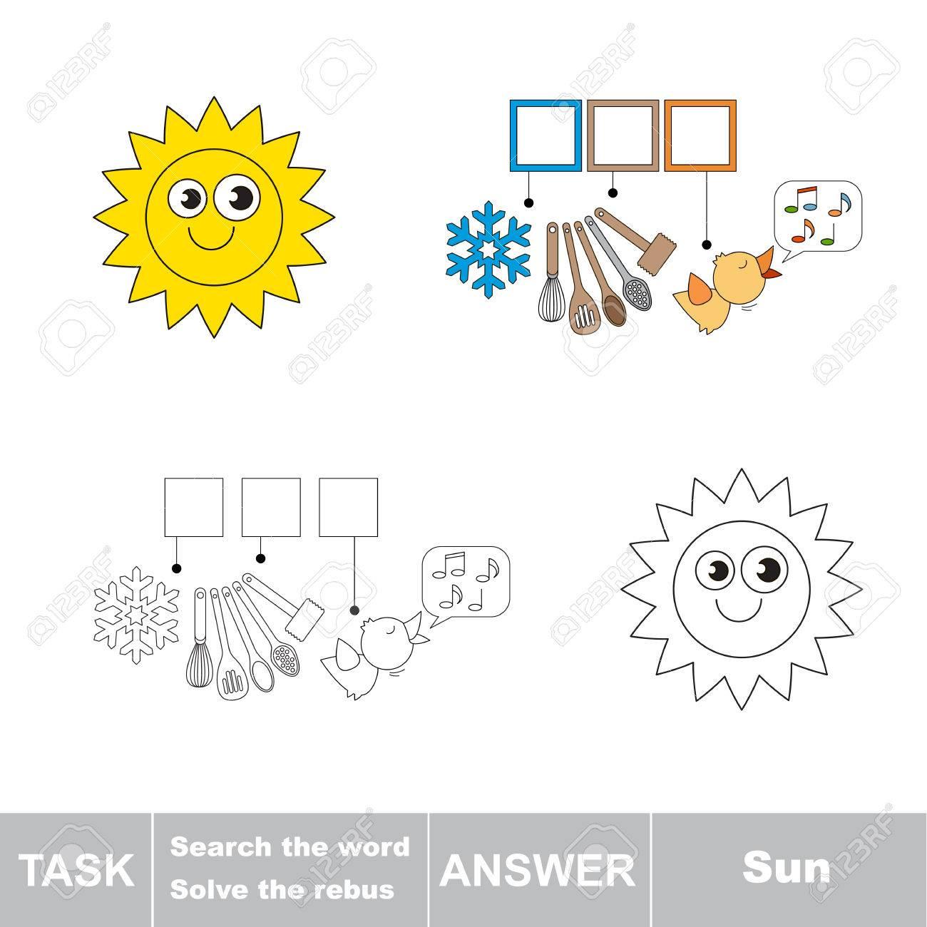 Vector Rebus Jeu. Tâche Et Réponse. Résoudre Le Rebus Et Trouver Le Mot Sun avec Rébus À Imprimer