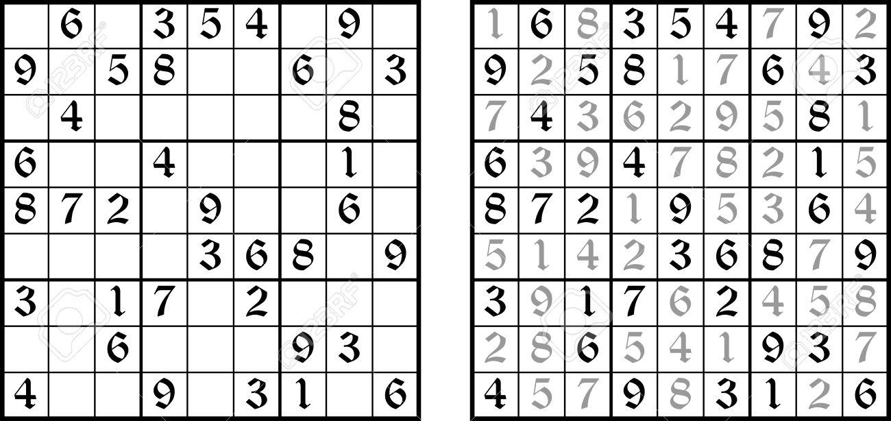 Vector Sudoku Jeu. Tâche Pour La Logique. Puzzle Mathématique Avec La  Réponse. serapportantà Jeu Le Sudoku