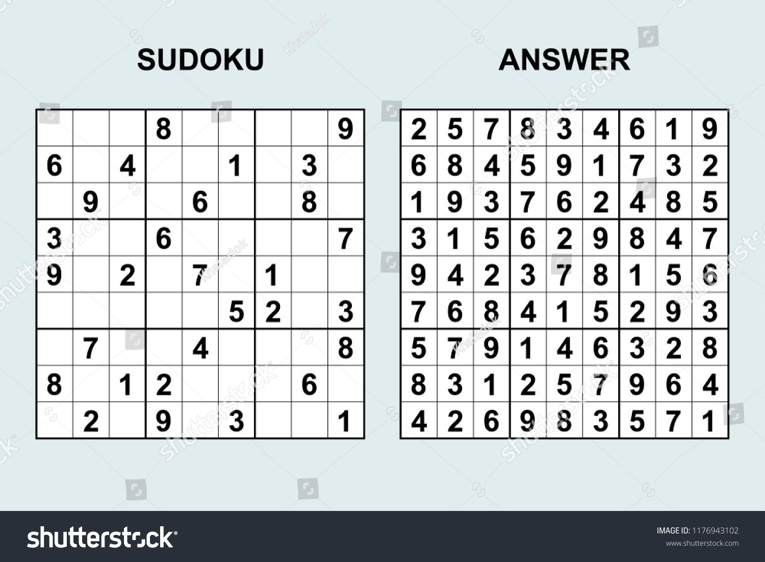 Vector Sudoku With Answer 171. Puzzle Game With Numbers concernant Sudoku Junior À Imprimer