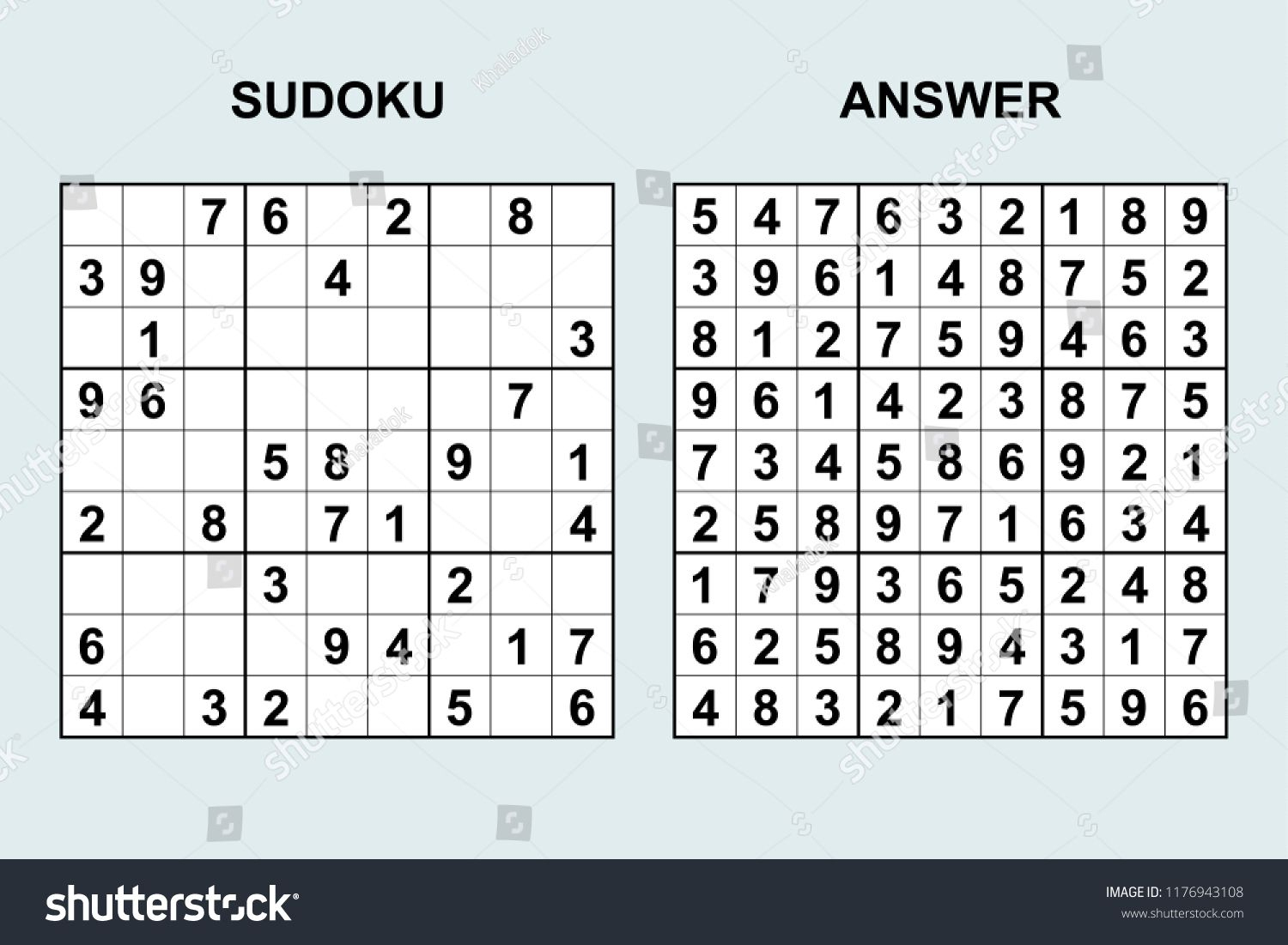 Vector Sudoku With Answer 172. Puzzle Game With Numbers concernant Sudoku Gs