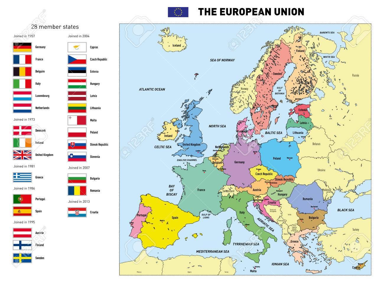 Vector Très Détaillée Carte Politique De L'union Européenne Avec Des  Drapeaux Et Capitales. Tous Les Éléments Sont Séparés Dans Des Couches à Les Capitales De L Union Européenne
