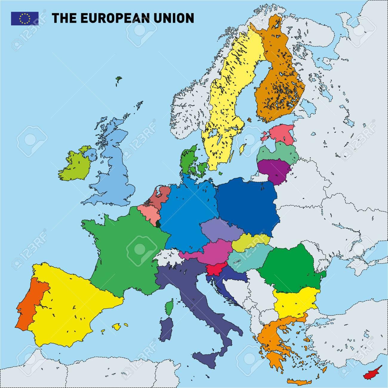 Vector Très Détaillée Carte Politique De L'union Européenne Avec Des  Drapeaux Et Capitales. Tous Les Éléments Sont Séparés Dans Des Couches destiné Les Capitales De L Union Européenne