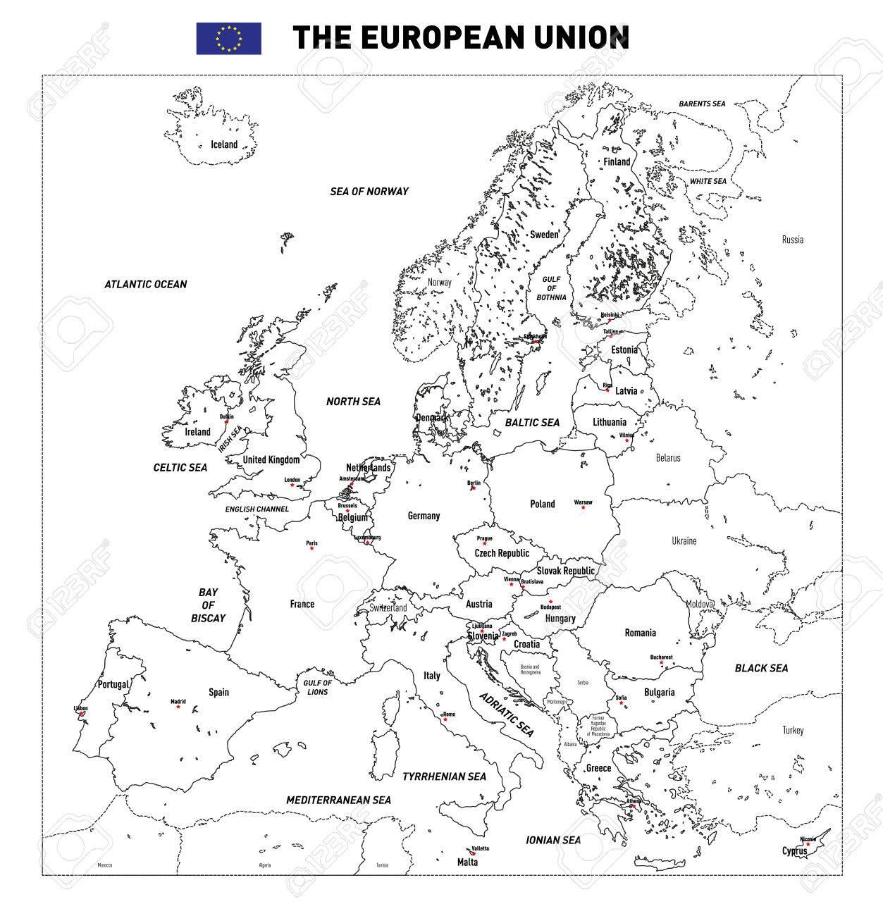 Vector Très Détaillée Carte Politique De L'union Européenne Avec Des  Drapeaux Et Capitales. Tous Les Éléments Sont Séparés Dans Des Couches encequiconcerne Les Capitales De L Union Européenne