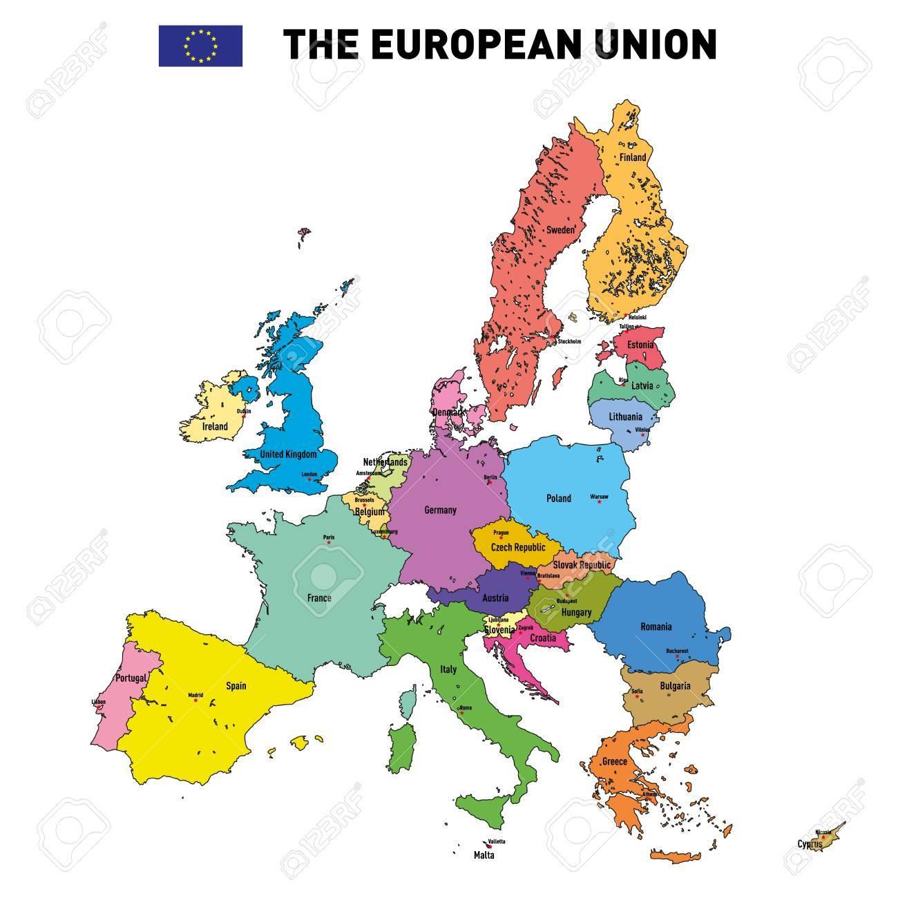 Vector Très Détaillée Carte Politique De L'union Européenne Avec Des  Drapeaux Et Capitales. Tous Les Éléments Sont Séparés Dans Des Couches intérieur Carte D Europe Avec Les Capitales