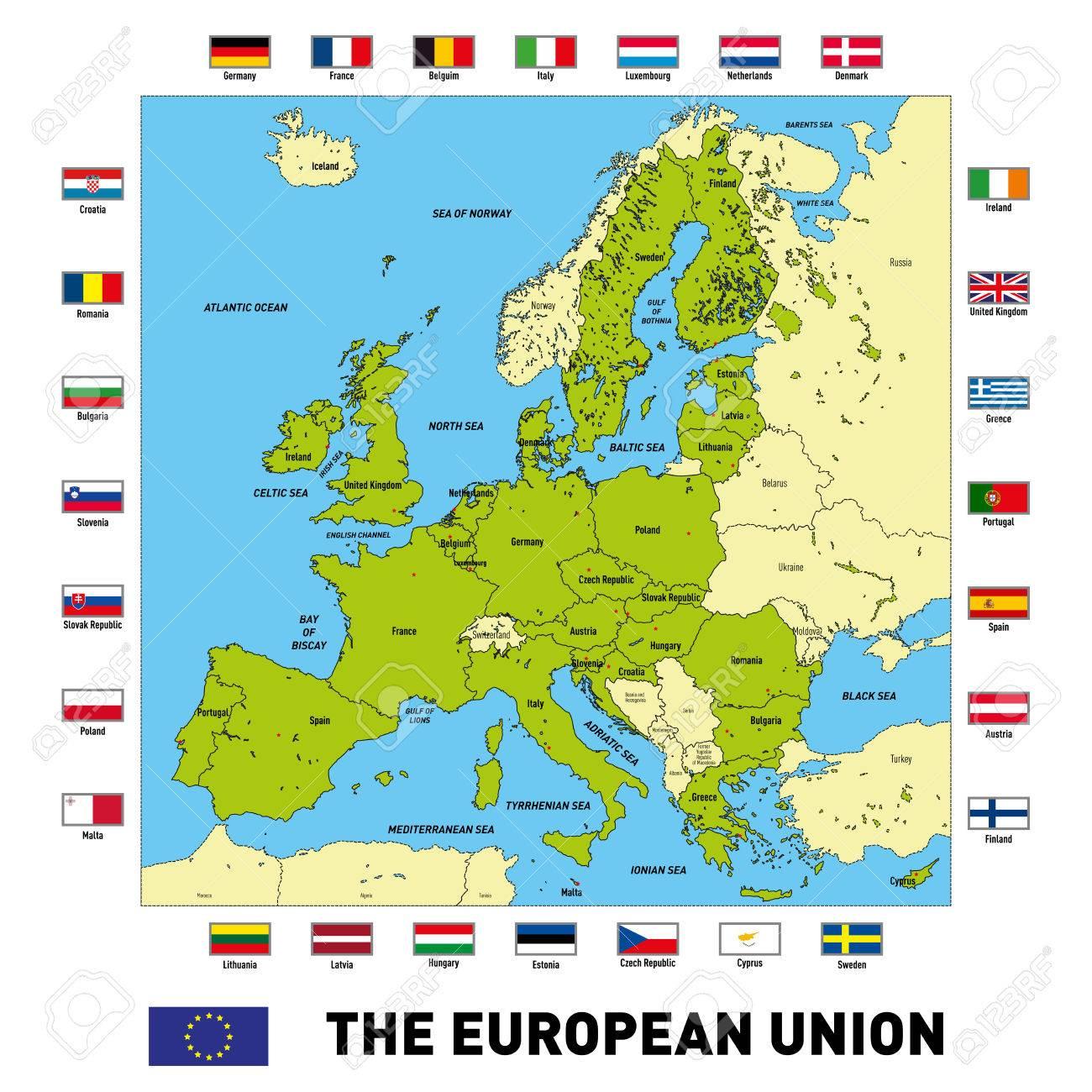 Vector Très Détaillée Carte Politique De L'union Européenne Avec Des  Drapeaux Et Capitales. Tous Les Éléments Sont Séparés Dans Des Couches intérieur Les Capitales De L Union Européenne