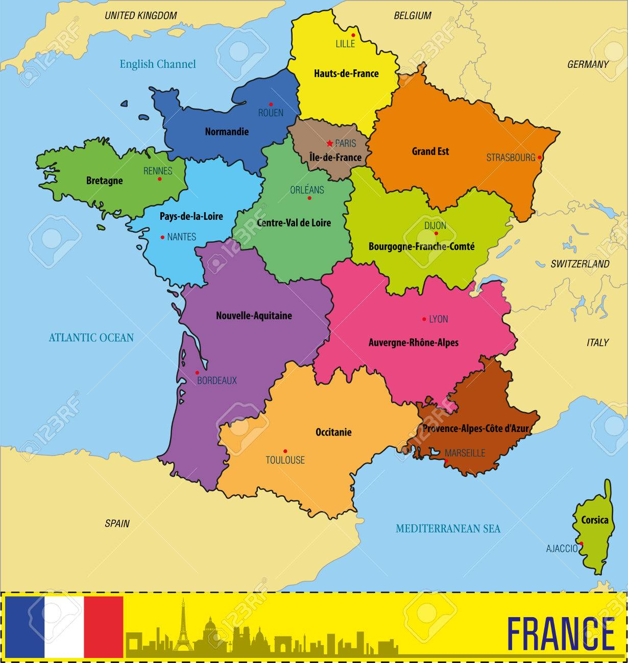 Vector Une Carte Politique Très Détaillée De La France Avec Les Régions Et  Leurs Capitales. Tous Les Éléments Sont Séparés Dans Des Calques encequiconcerne Carte De La France Avec Les Régions