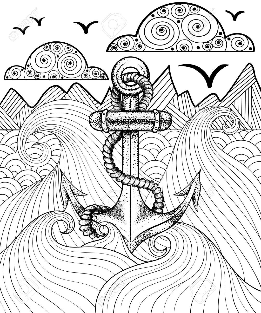 Vector Zentangle Imprimer Pour Coloriage Adulte. Hand Drawn Ancrage  Artistique Ethnique De La Mer À Motif Ornemental. à Coloriage Sur La Mer À Imprimer