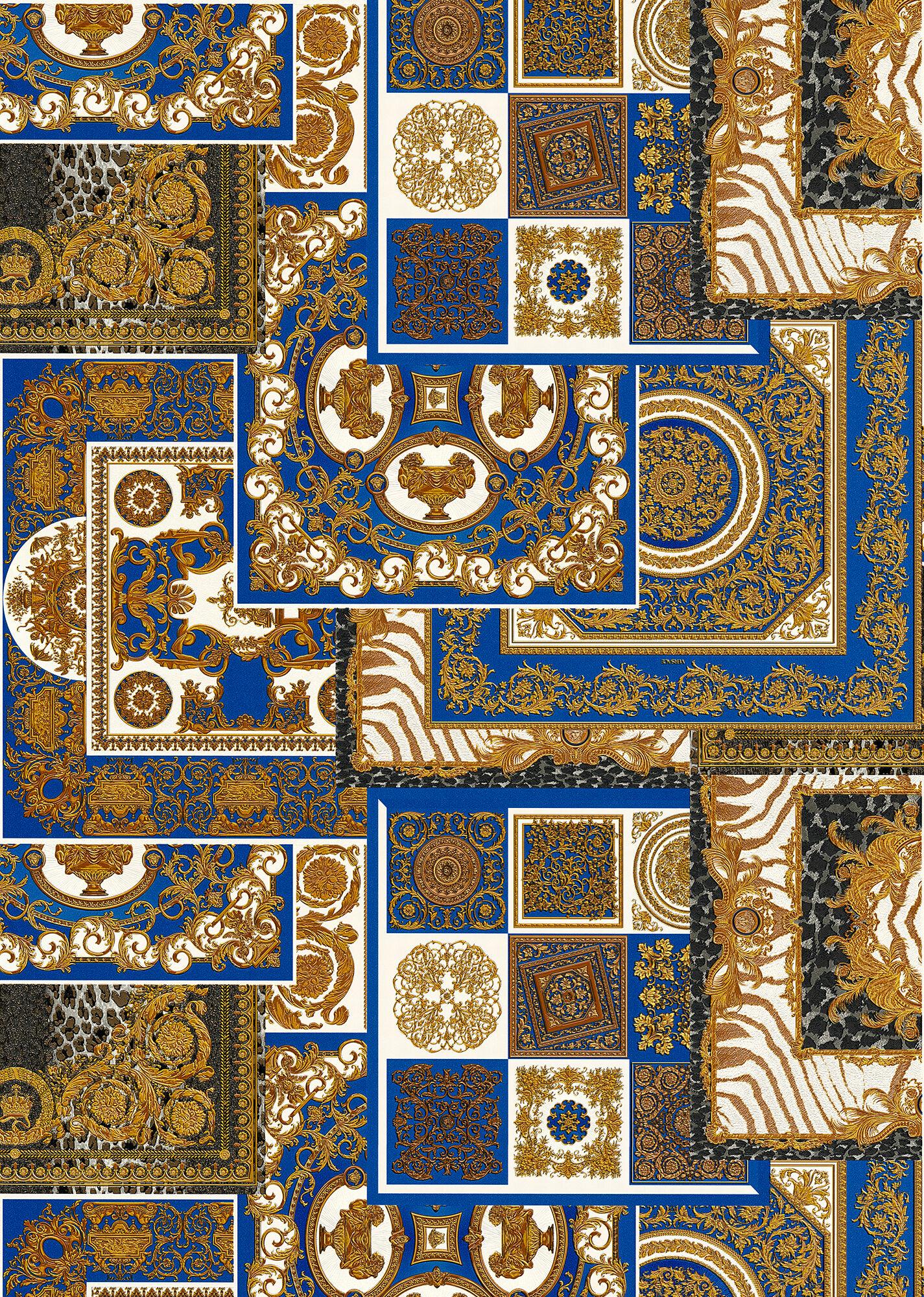 Versace Papier Peint À Imprimé Découpage Bleu - Home Collection | Boutique  En Ligne France intérieur Decoupage A Imprimer