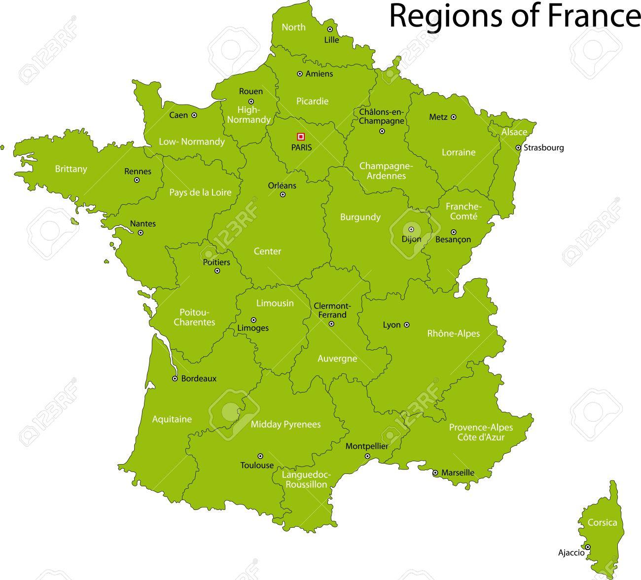 Vert Carte De France Avec Les Régions Et Les Principales Villes avec Carte De La France Avec Les Régions