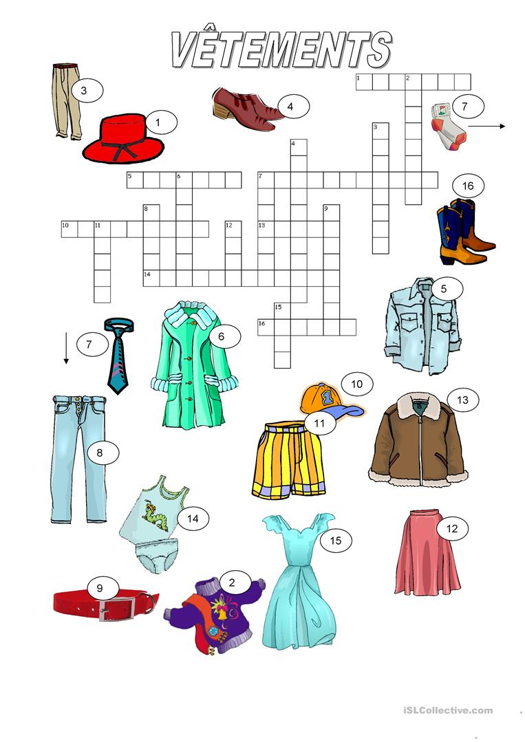 Vêtements - Mots Croisés - Français Fle Fiches Pedagogiques destiné Mots Croisés Faciles Pour Débutants