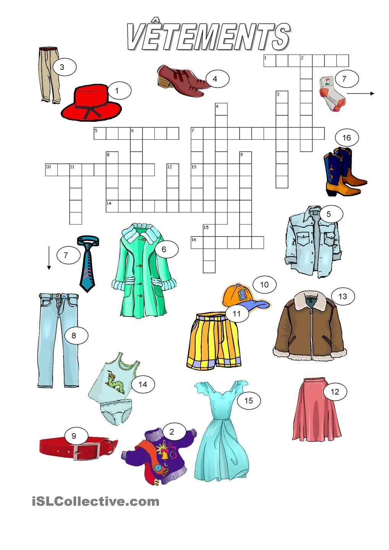 Vêtements - Mots Croisés | Mots Croisés, Mots Fleches avec Jeu De Mot En Anglais