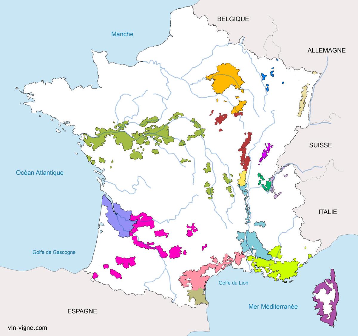 Vignoble De France - Liste Des Vignobles Français - Vin destiné Carte De France Et Ses Régions