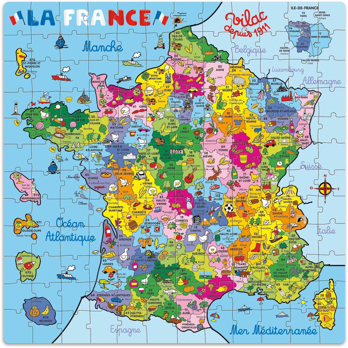 Vilac - 2603 - Puzzle - Carte De France En Valise - 144 intérieur Carte De France Pour Enfant