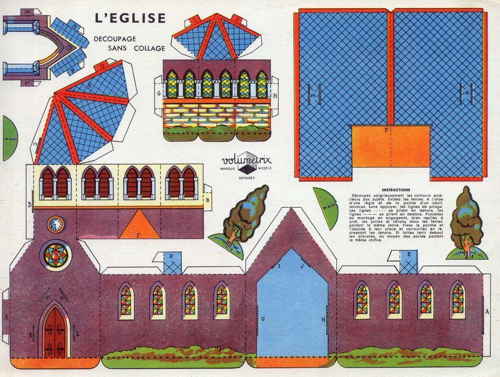 Village En Papier : L'église. Il Suffit D'imprimer Les intérieur Patron De Maison En Papier A Imprimer