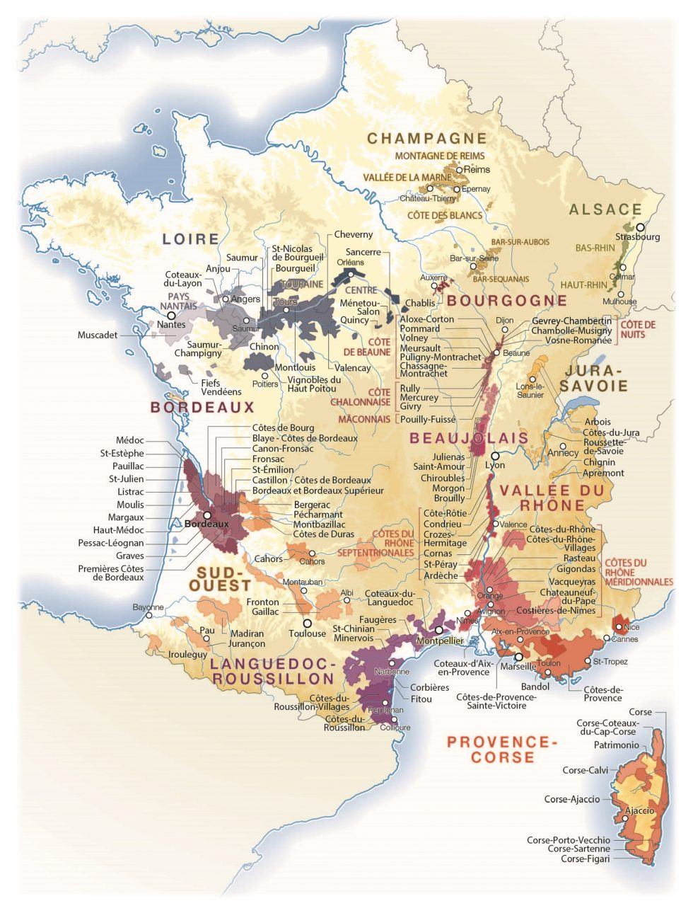 Vin : Les Meilleures Années Et Les Cépages Pour Bien Acheter intérieur Carte Des Régions De France À Imprimer