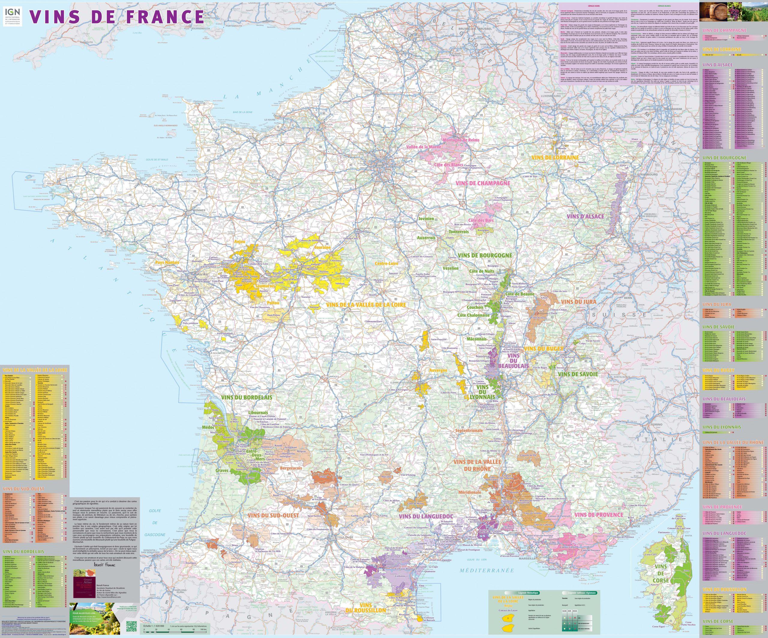 Vins De France (Poster Plastifié) tout Grande Carte De France À Imprimer