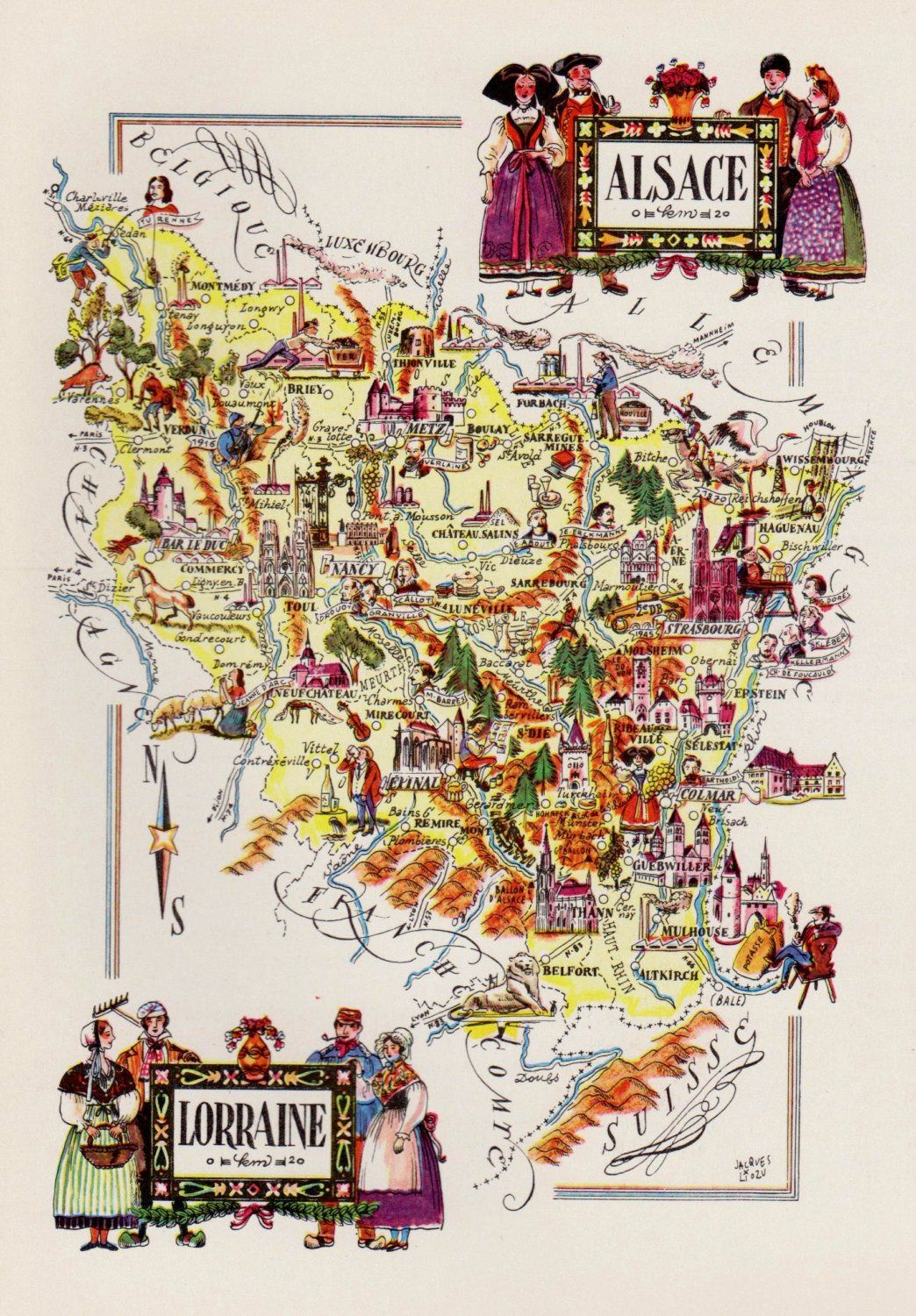 Vintage France Picture Map Of France Reprint Alsace pour Decoupage Region France