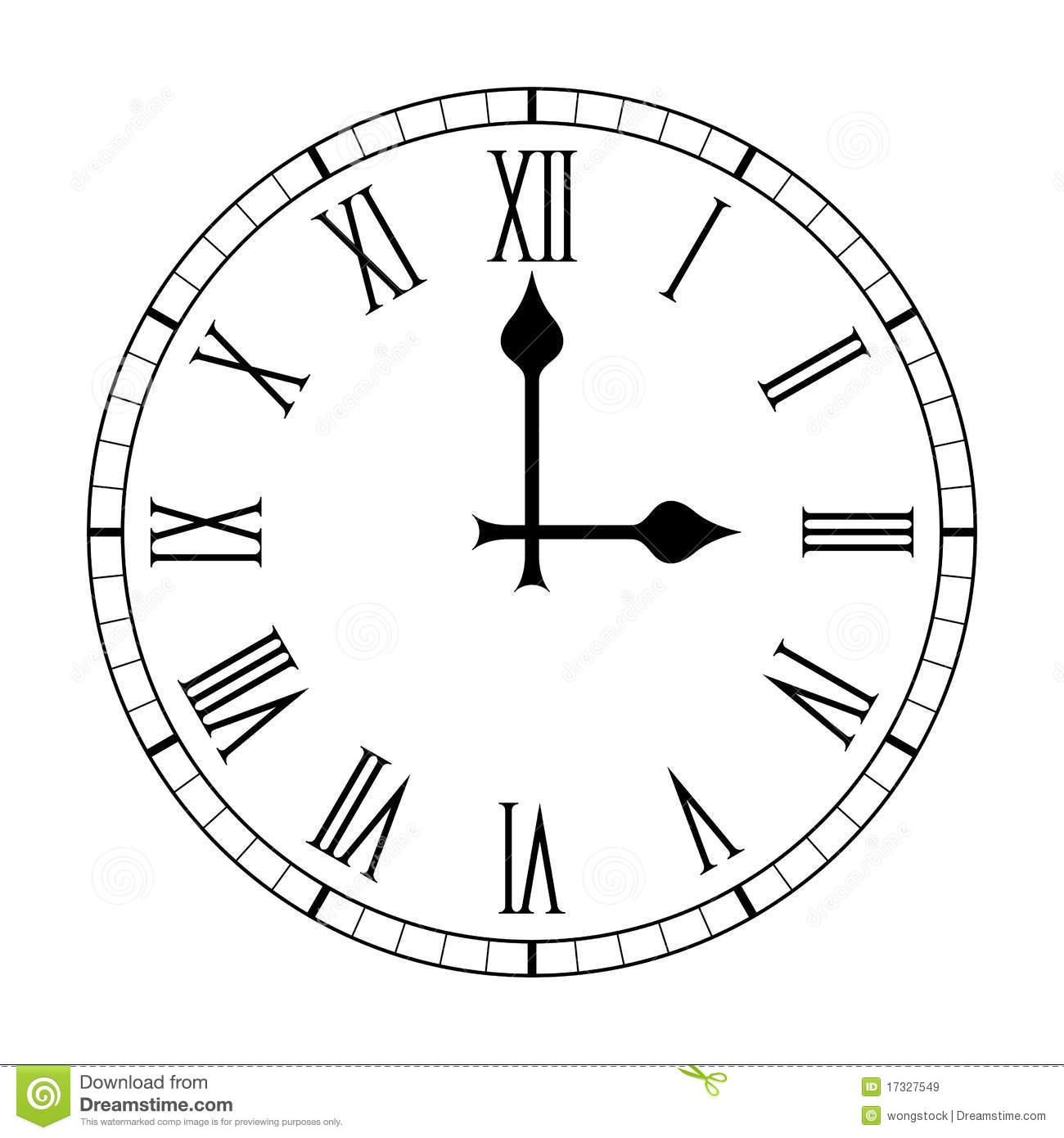 Visage D'horloge Ordinaire De Chiffre Romain Sur Le Blanc concernant Dessin Chiffre Romain