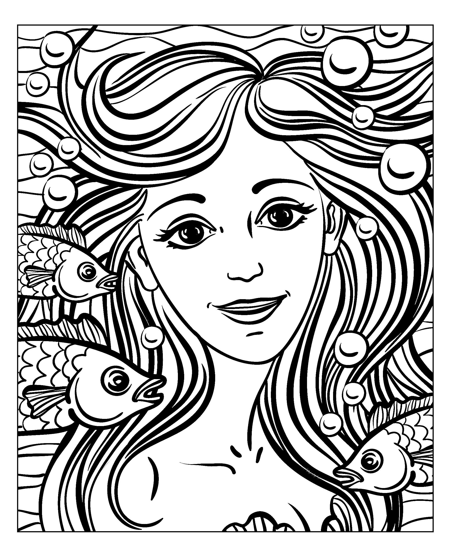 Visage Sirene - Mondes Aquatiques - Coloriages Difficiles destiné Visage À Colorier